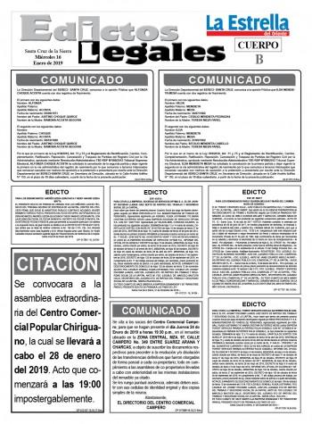 Edictos Legales 16-1-2019